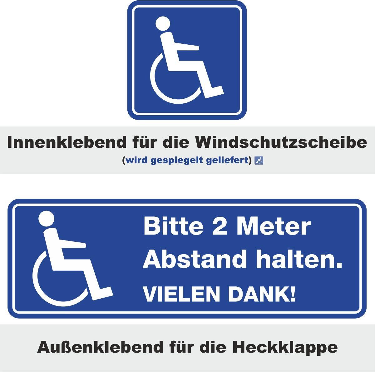 iSecur Auto-Aufkleber-Set Bitte 2 Meter Abstand halten. Vielen Dank! + Rollstuhl-Aufkleber I hin_243 I fü r Rollstuhl-Fahrer, Menschen mit Behinderung easydruck24de