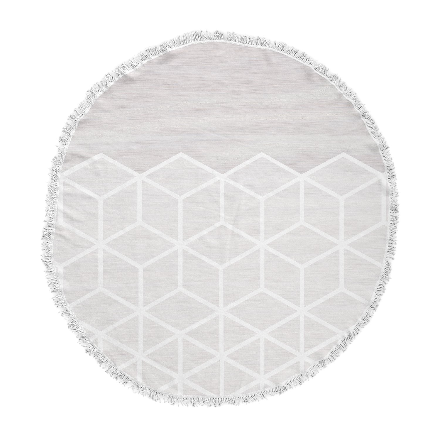 KESS InHouse Draper Geo Woodgrain Gray White Round Beach Towel Blanket