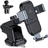 VANMASS Qi 車載 ワイヤレス充電器 スマホホルダー 車載ホルダー 10W/7.5W急速充電 自動開閉 取り付け簡単 iPhone 11/11 Pro/XS/XS Max/XR/X/8/8 Plus、Galaxy S10/S10+/S9/S9+等対応可能(エアコン式&吸盤式)