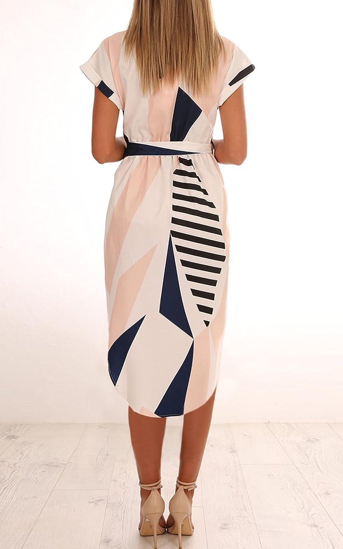 c6710e7321 ECOWISH Sommerkleider Damen Kurzarm V-Ausschnitt Strand Blumen Kleider  Abendkleid Knielang: Amazon.de: Bekleidung
