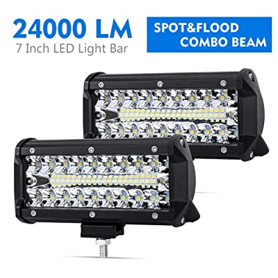 7 Inch LED Pods Spot Flood Combo Beam Liteway 24000 LM Triple Row Light Bar Off Road Driving Led Work Lights for UTV ATV Jeep Truck Boat Waterproof 2 Pack LED Light Bars, 1 Year Warranty: Automotive