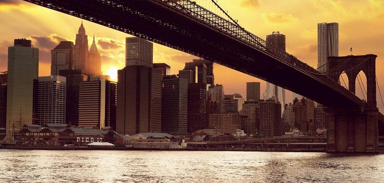No Puente De Brooklyn En Nueva York Estados Unidos Al Atardecerdiy Digital Pintura Al /Óleo Animal Paisaje Arquitectura Pintura Al /Óleo Familia Interactivo Colgante Color Pintura