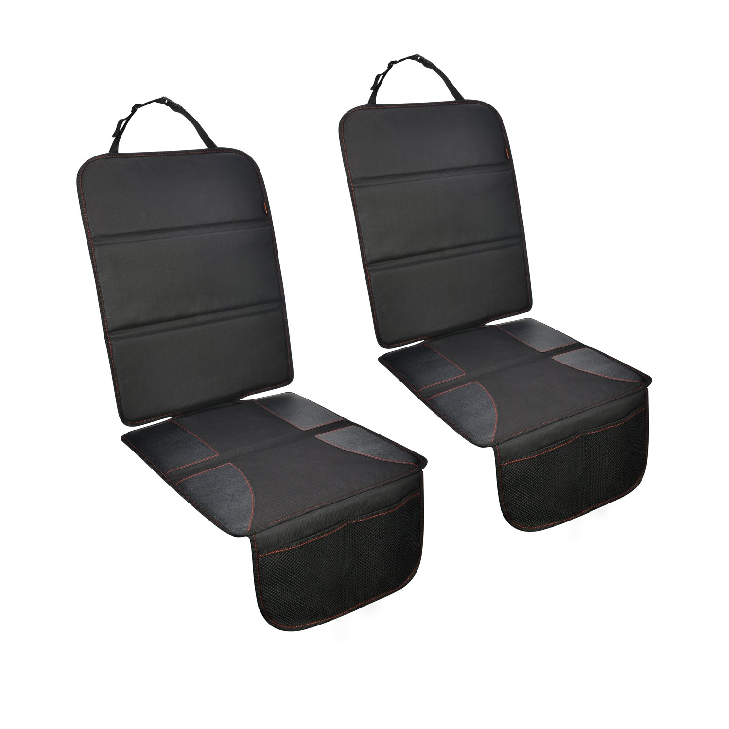 Car Seat Protector 2 Pack for Child Baby Carseat, Thick Padding Auto Seat Mat with Organizer Pockets to Protect Your Leather and Fabric Seats-Durable and Water-Resistant
