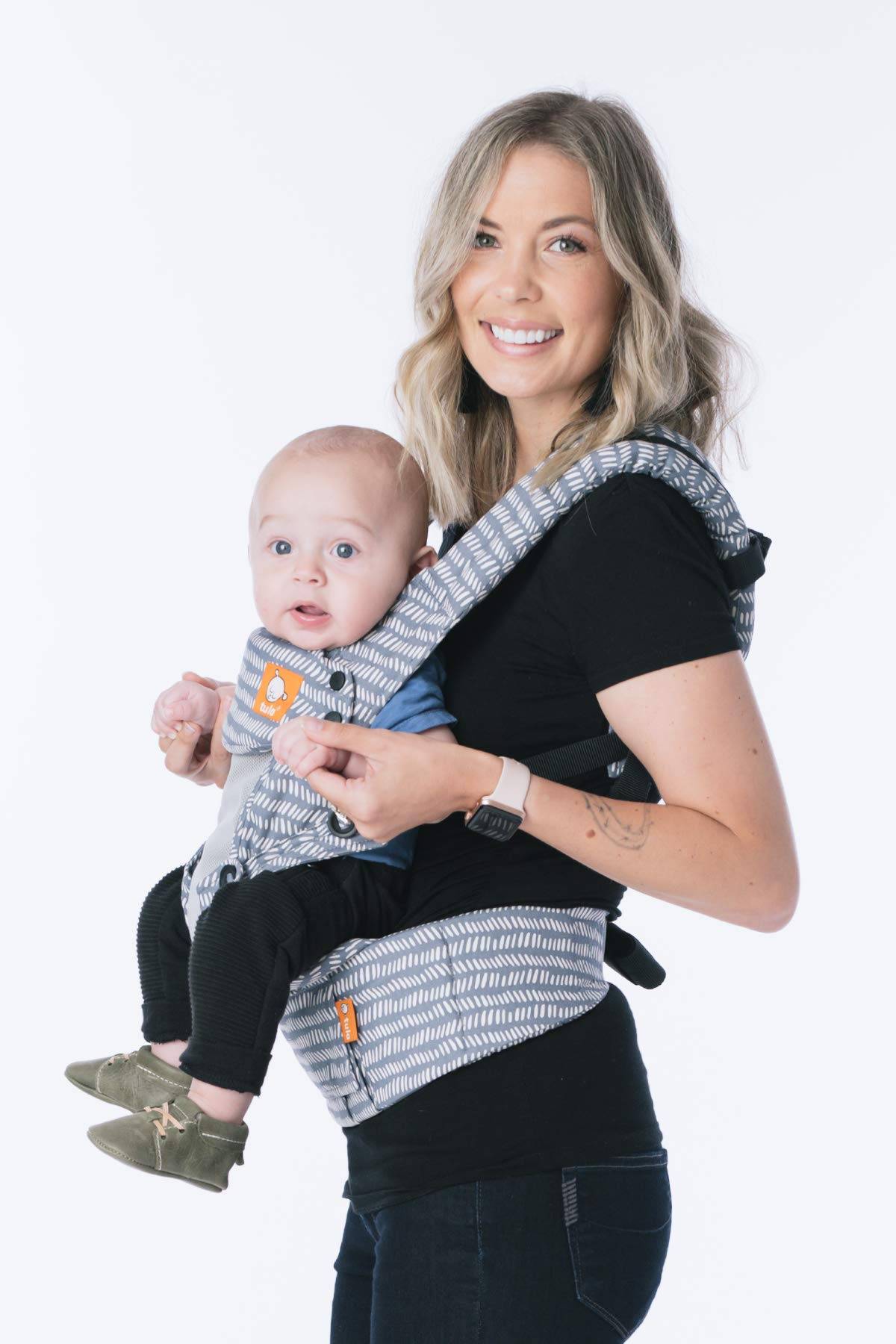 Baby Tula Coast Explore Mesh Baby Carrier 7 – 45 lb, Adjustable Newborn to Toddler Carrier, Multiple Ergonomic Positions Front and Back, Breathable – Coast Beyond, Light Blue with Light Gray Mesh