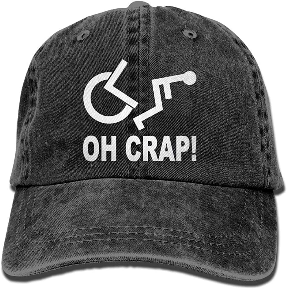 Ahdyr Crap Handicap Silla de Ruedas Sombrero de Mezclilla Sombreros de béisbol Lisos Ajustables para Hombre