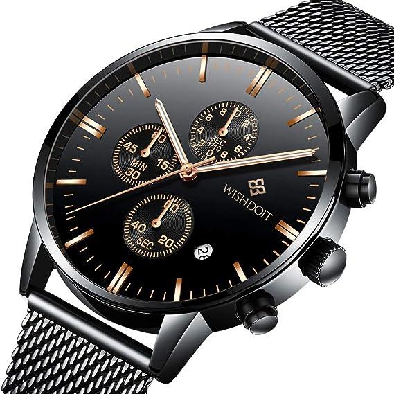 e356efa29214 WISHDOIT Hombre Lujo Clásico Impermeable Cuarzo Analógico Reloj Cronógrafo  con Moda Negra de Acero Inoxidable Pulseras de Malla 9834D  Amazon.es   Relojes