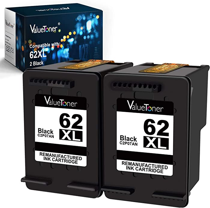 Valuetoner Remanufactured Ink Cartridge Replacement for HP 62 XL 62XL Used in Envy 5540 5640 5660 7644 7645 OfficeJet 5740 8040 200 250 Series Printer (2 Black)