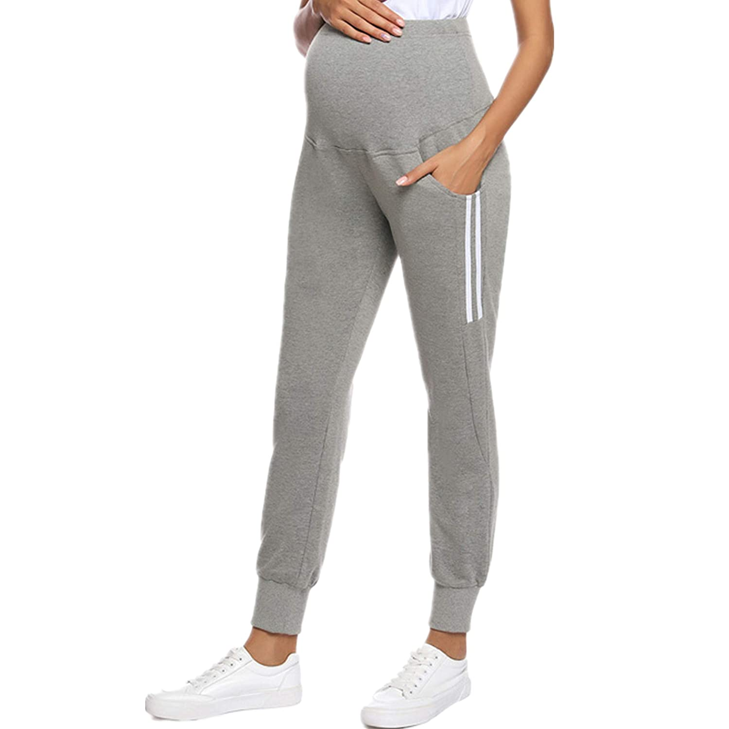 Maacie Womens Maternity Striped Side Jogger Sweatpants with Pockets