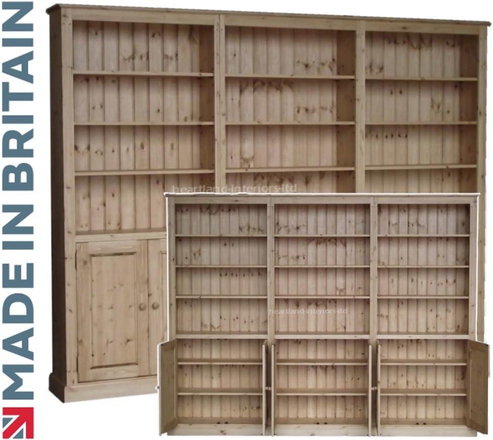 Pino macizo librero, artesanal 213,36 cm x 274,32 cm y enceré pantalla ajustable biblioteca estantes unidad de almacenamiento con armarios, ...