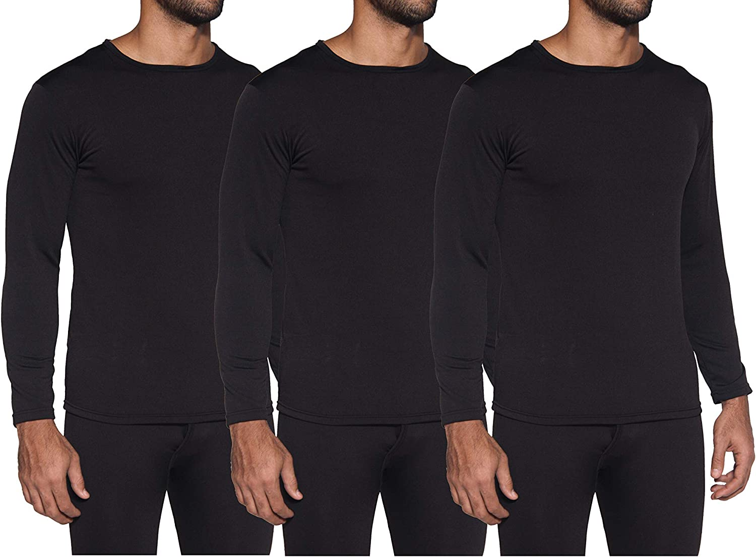 1 & 3 Pack: Men's Ultra-Soft Long Sleeve Crew Neck Thermal Shirt – Fleece Lined Compression Baselayer Top Underwear at  Men's Clothing store