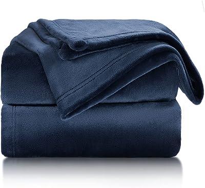 Bedsure Fleece Blanket Twin Size Navy Lightweight Super Soft Cozy Luxury Bed Blanket
