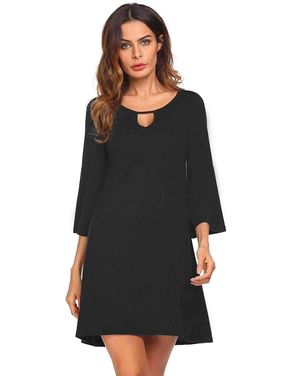 Black pasttry Women's Casual Solid Empire Waist Short Sleeve Above Knee Length Fit Flare A Line Dress