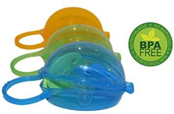 Baby Pacifier Case by Akeekah | 3 Pack for Boys | Soothie Pacifier Holder Case and Paci Pod with Awesome Colorful Designs | Safe BPA Free Nippleshield ...