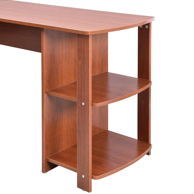 Merax L-Shaped Desk Office Desk Corner Computer Desk with Storage Shelf PC Laptop Table Workstation Writing Table