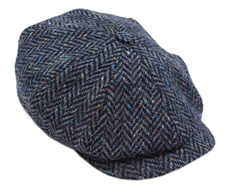 d7159869402 John Hanly Newsboy Cap 100% Wool 8 Piece Navy Herringbone Blinder Hat Made  in Ireland