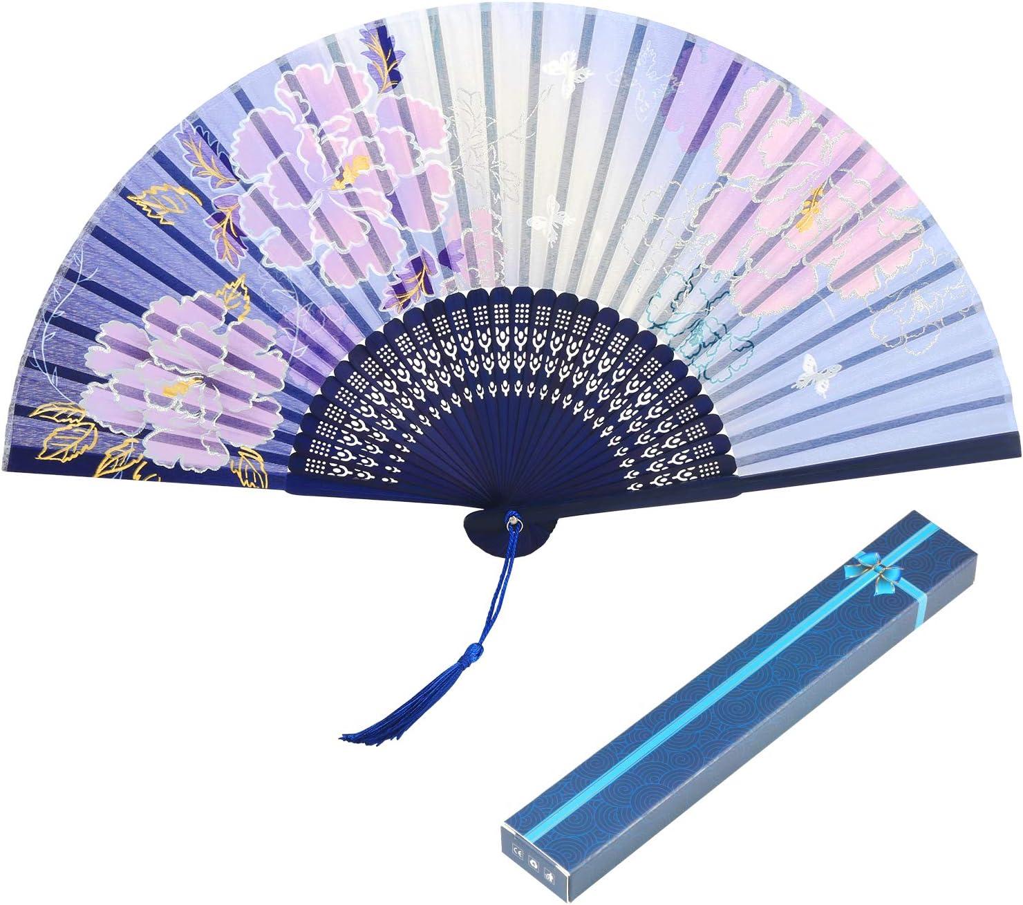 Folding Fan Metable Peony Pattern Handheld Bamboo Fan with Tassel Women's Oriental Handmade Silk Decorative Fan for Wedding Party Favor Wall Decor