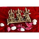 eCraftIndia Antique Finish Laxmi Ganesha Saraswati on Lotus Base Brass Showpiece (13 cm x 4 cm x 9, Brown)