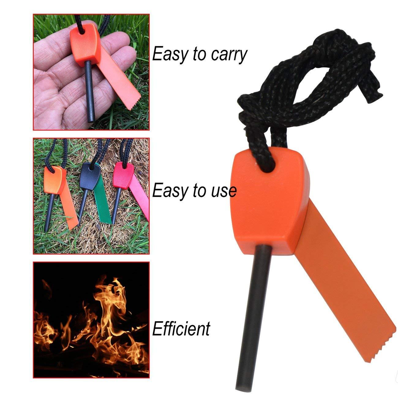Equipo de Supervivencia al Aire Libre para Camping Versi/ón econ/ómica de Mini Flint Impermeabilizaci/ón Franja de magnesio Naranja