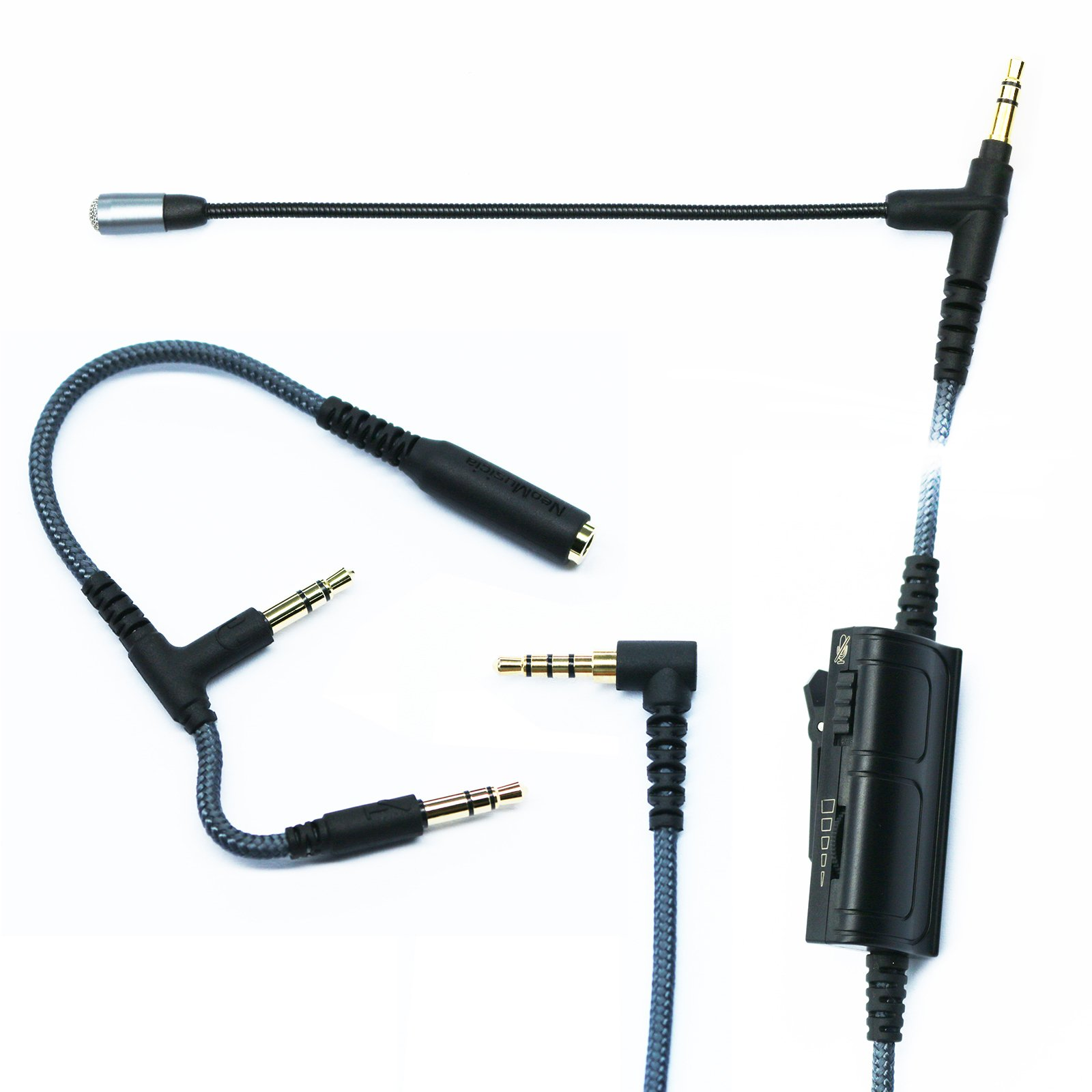 NewFantasia Cable Boom Microphone Volume for gaming PS4 Xbox One PC Laptop iphone Android phone to SONY MDRXB950BT, MDRXB650BT, MDR1000X, MDR100ABN, WH1000XM2, MDR-1RBT, MDR-10RBT, MDR-1A headphone 2m