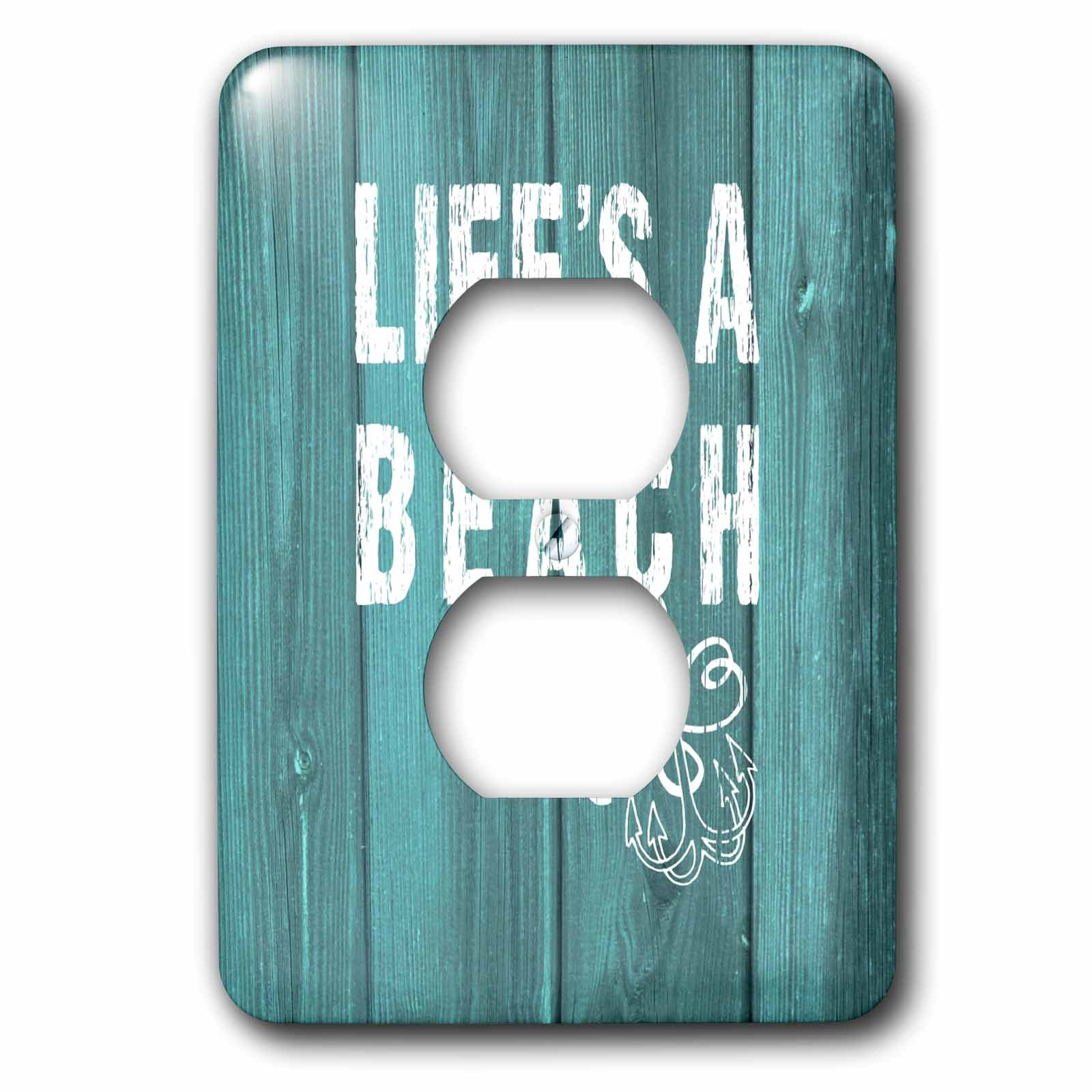 3dRose lsp_220419_6 Lifes a Beach Distressed Text on Teal Background-Not Real Wood 2 Plug Outlet Cover, White
