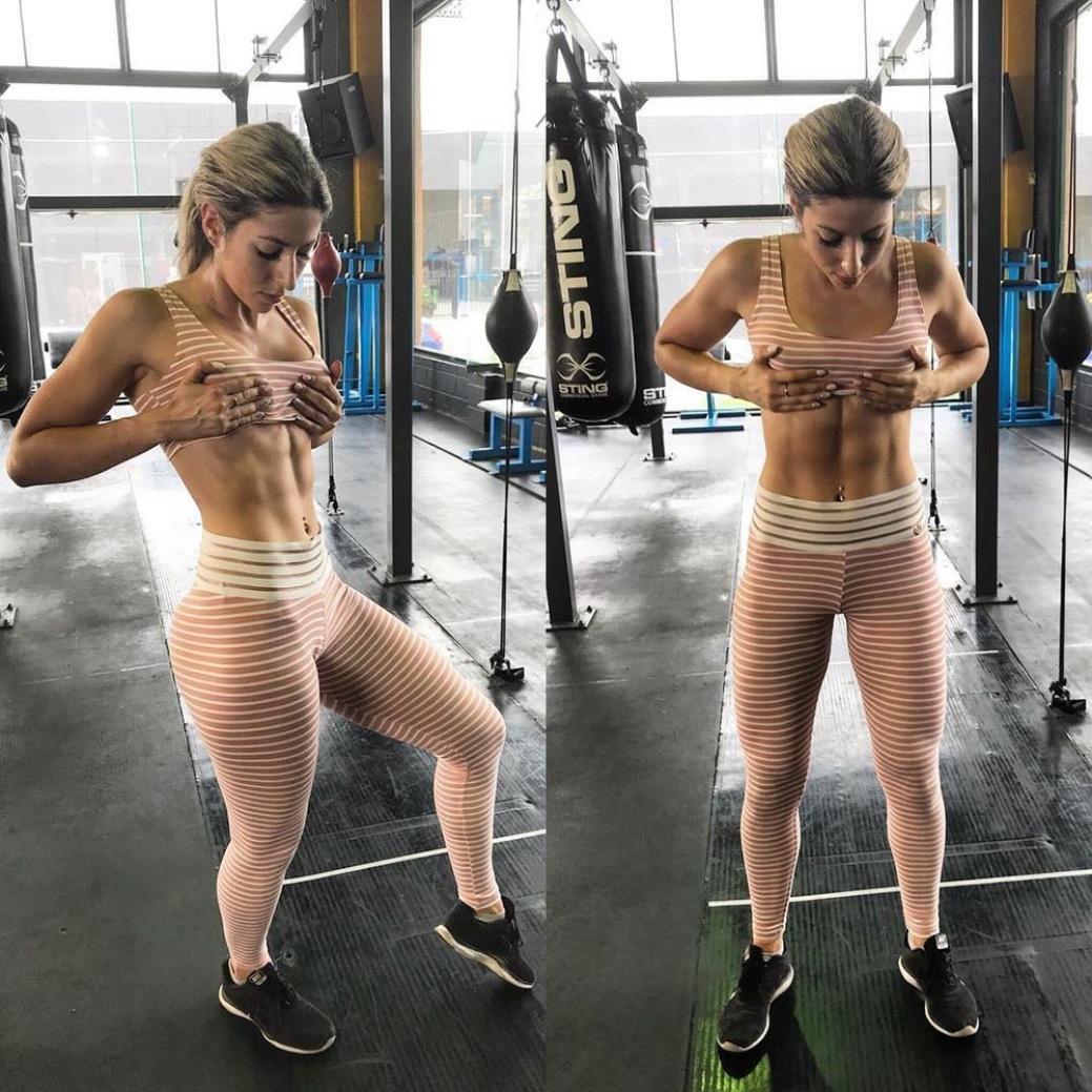 Mallorma/® Gestreifte Trainings Gamaschen Fitness Sport Gymnastik laufende Yoga athletische Hosen der Frauen