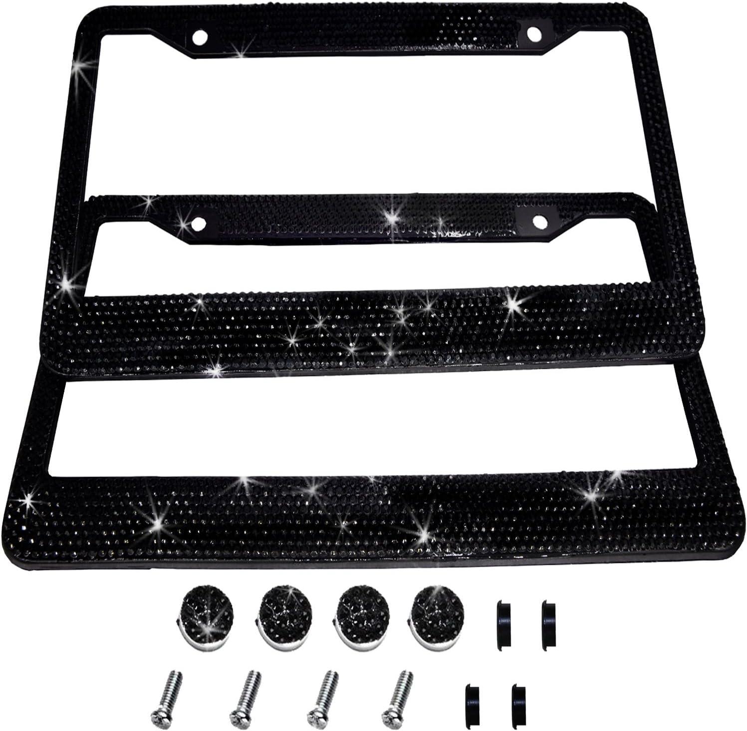 SAVORI License Plate Frame Screws Bolts Crystal Rhinestone Anti-Theft Metal Fastener Caps Cover Kit Universal Bling Car Accessories Decor 2PCS AB Color