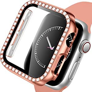 Mastten Case Compatible for Apple Watch Case 40mm with Screen Protector, Bling Diamond Full Cover Protective PC Bumper Case Compatible with iWatch Series SE/6/5/4, Rosegold