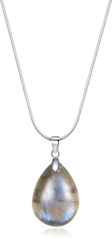 COAI® Collar Unisex de Colgante Piedra Semipreciosa Genuina Labradorita de Forma Lágrima