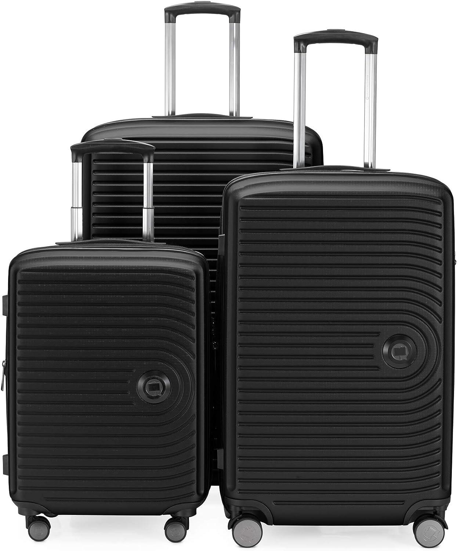 HAUPTSTADTKOFFER - Juego de 3 maletas extensibles –  Trolley cabina de de 55 cm, Equipaje de tamaño mediano 68 cm + maleta grande para viaje 77 cm, cáscara dura ABS, TSA, Negro