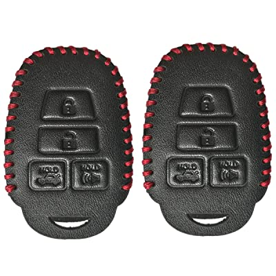 Coolbestda 2Pcs Leather Key Fob Remote Accessories Skin Cover Protector Keyless Entry Case for Toyota Camry SE LE Avalon Corolla RAV4 Venza Highlander Sequoia HYQ12BDM Black: Automotive