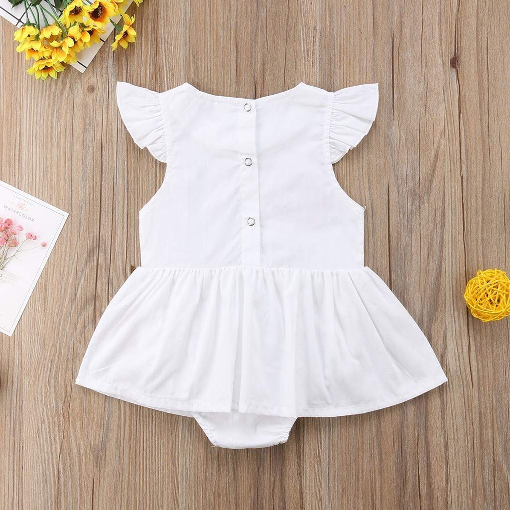 XINXINHAIHE Infant Baby Girl Fly Sleeve Embroidery Rose Ruffle Romper Jumpsuit Outfit