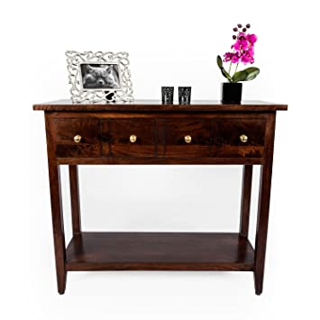 homescapes groove dark solid mango wood console table with drawers and adjustable shelf 94 x 40