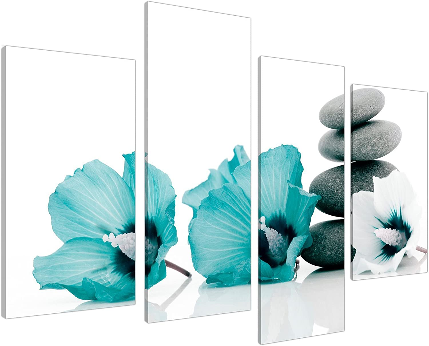 Large Teal Flower Floral Canvas Wall Art Pictures 130cm Set XL 4072 by Wallfillers