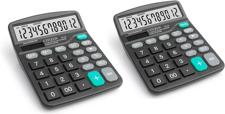 Zamac 2pcs électronique calculatrice de bureau avec écran 12chiffres batterie ou alimentation solaire calculatrice de bureau
