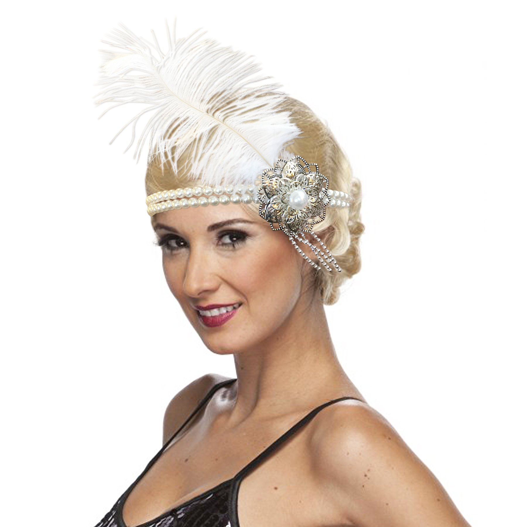 Silver and White Pearl Feather Flapper Headpiece Vintage Style 1920s Headband