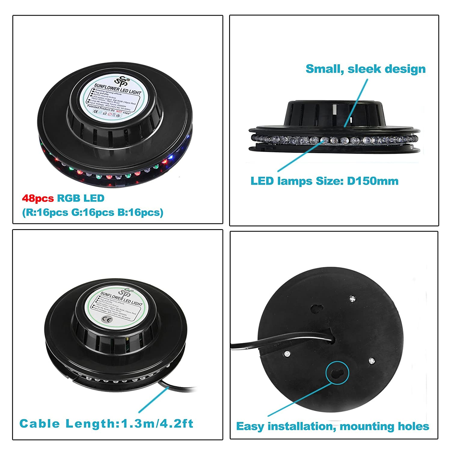 8w 48leds seven color sun pattern plastic stage lamp ac 90 240v - Amazon Com Tsss Xl40 B Sunflower Led Stage Light Magic 7 Color Rgb Rotating Lights For Home Children Party Wedding Birthday Celebration Event Musical