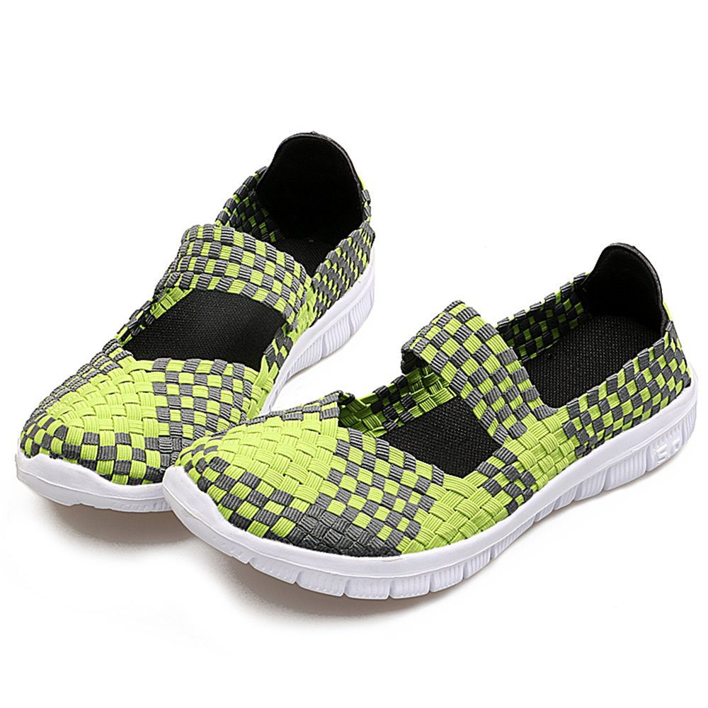 YMY Women's Woven Sneakers Casual Lightweight Sneakers - Breathable Running Shoes B07DXMT5L6 US B(M) 8.5 Women|Green
