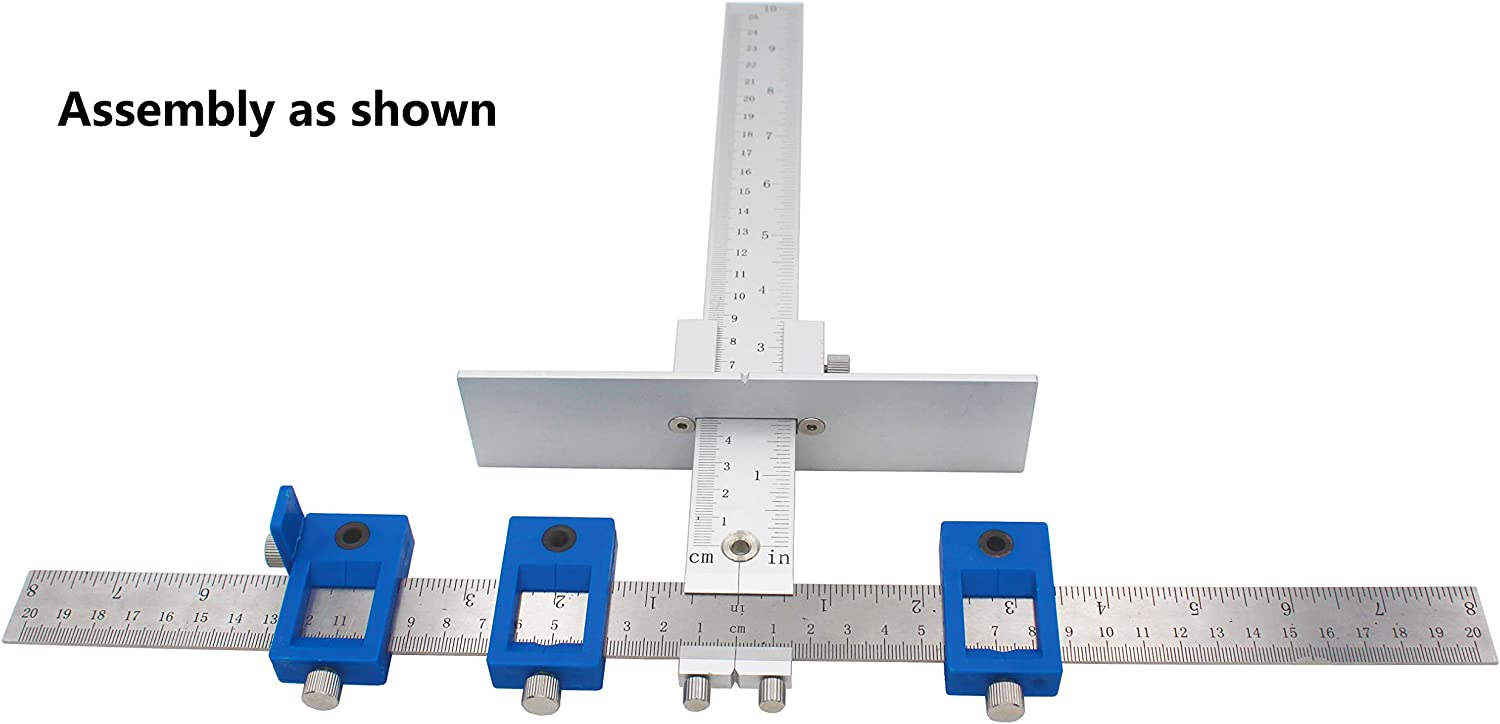 Cabinet Hardware Jig tool for Handles and Knobs Drawer Guide Jig on Doors and Drawer Fronts Fastest and Most Accurate Knob for inch Scale-blue Aluminium box