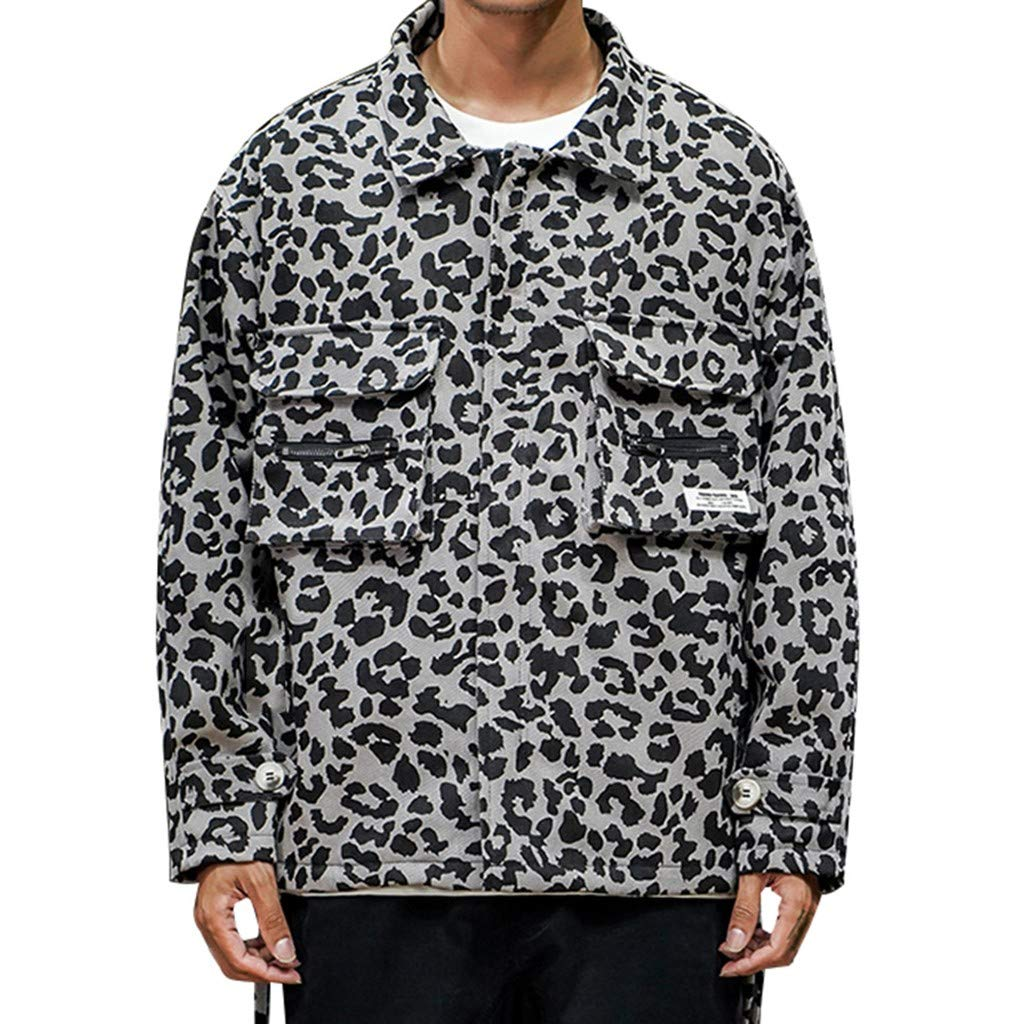 Men's Fashion Coat Leopard Print Loose Comfortable Outwear Shirt Casual Button Down Jackets (XXXXXL, Black) by Moxiu Men's T shirt