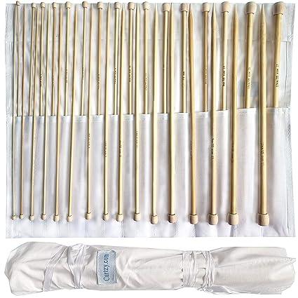 Set 32 Agujas de Tejer de Bambú por Curtzy - 16 Pares de Agujas de Madera de 34cm con Bolsa Gratis para Guardarlas - para Suéter, Proyecto de Encajes ...