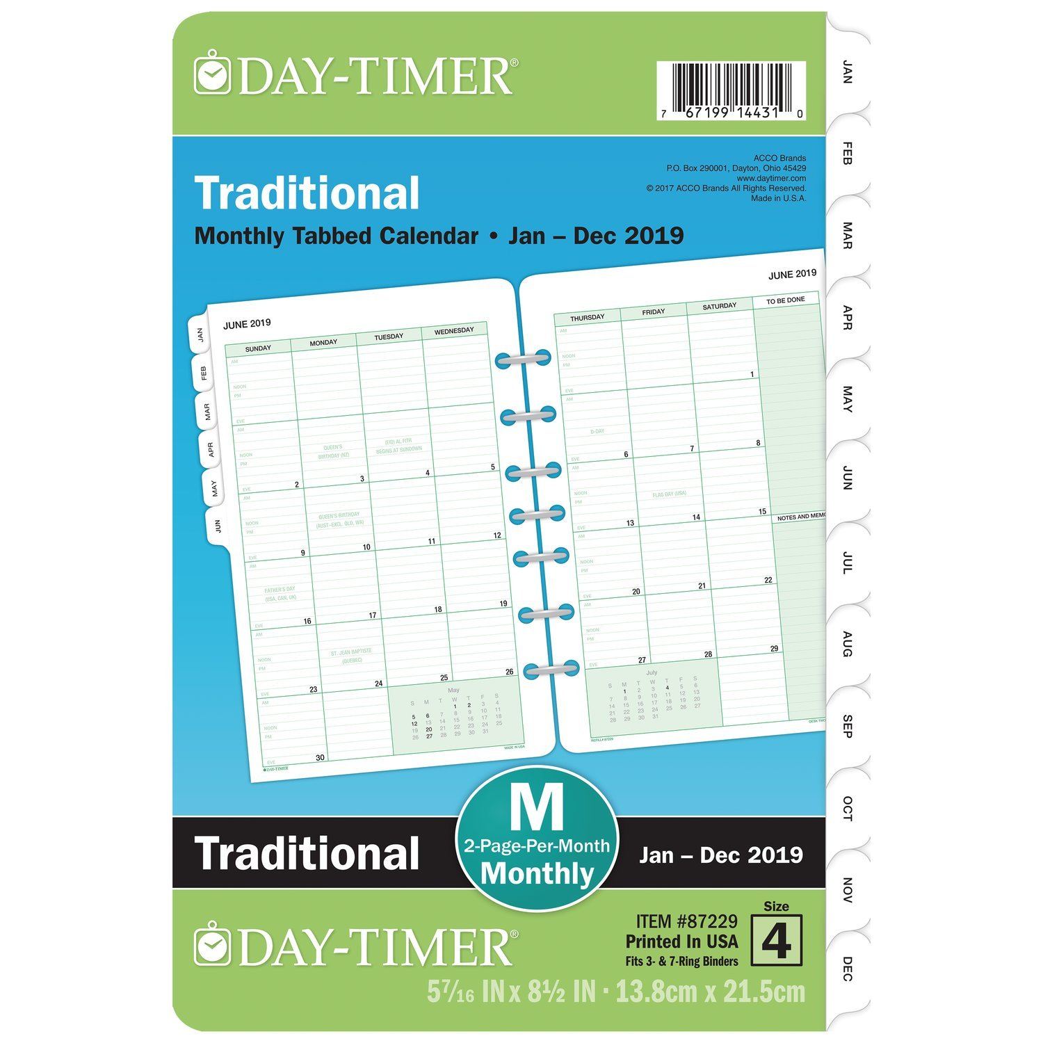 Day-Timer Refill 2019, Two Page per Month, January 2019 - December 2019, 5-1/2'' x 8-1/2'', Loose Leaf, Desk Size, Classic (87229)