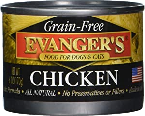 Evanger's Grain-Free 100% Chicken Dog/Cat Canned Food, 24-Pack of 6-Oz cans