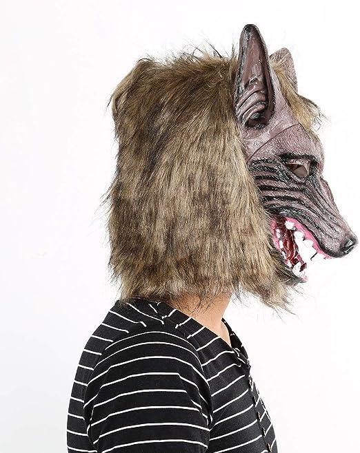 Pgige Adultos y niños Latex Animal Cabeza de Lobo con mascarilla ...