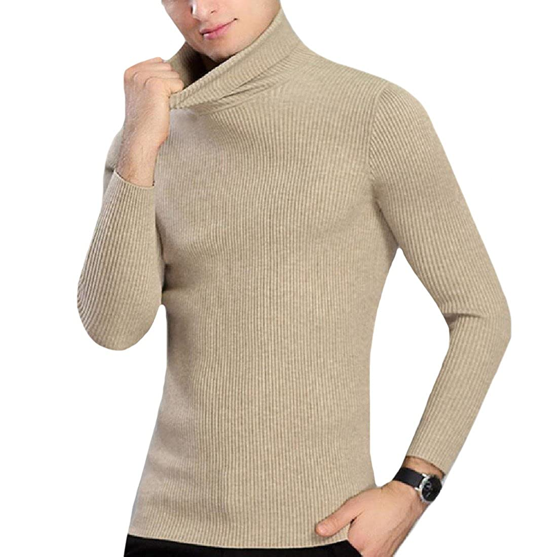 Abetteric Mens Turtleneck Breathable Wool and Warm Handsome Jumper