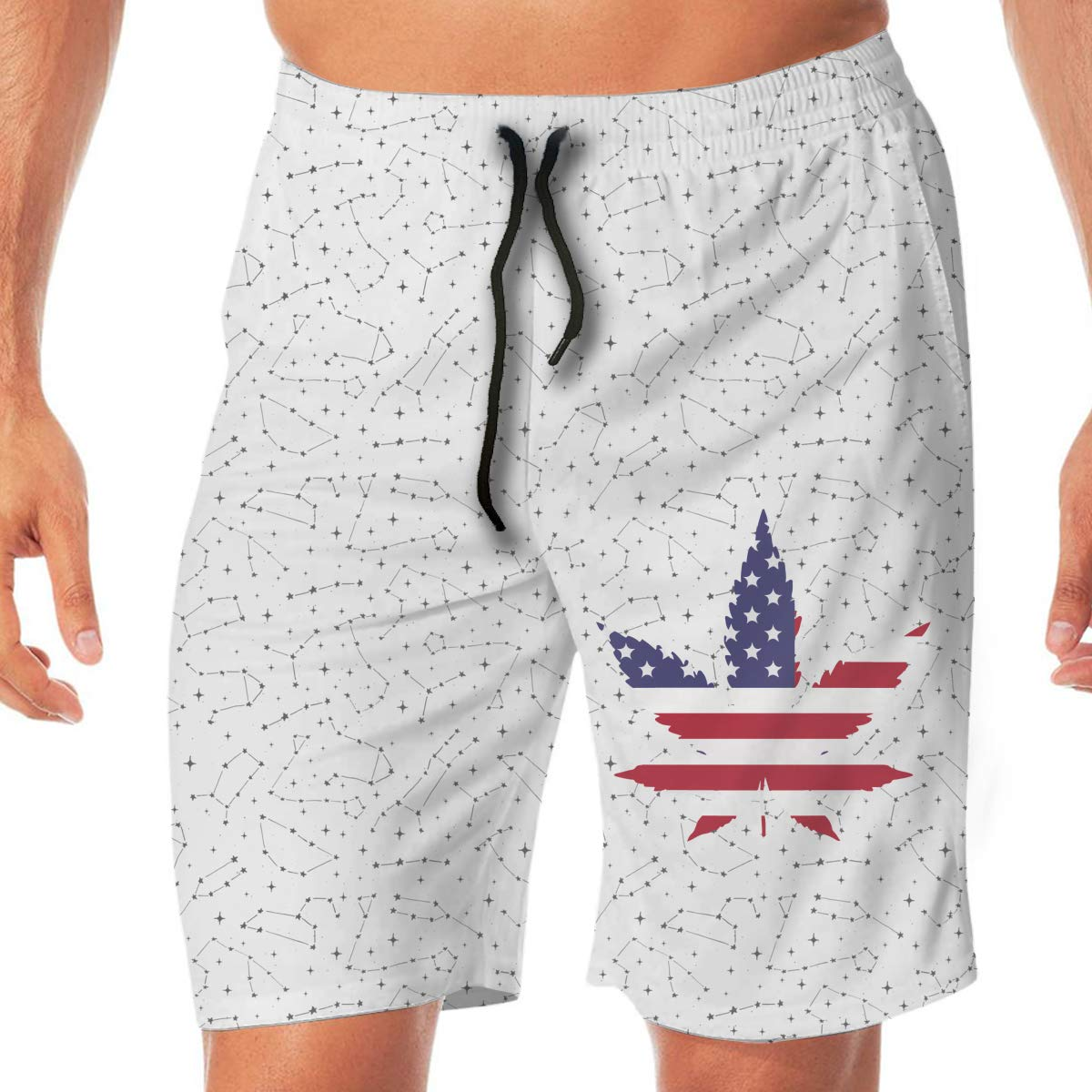 Mens American Weed Leaf Boardshorts Swimming Shorts No Mesh Lining