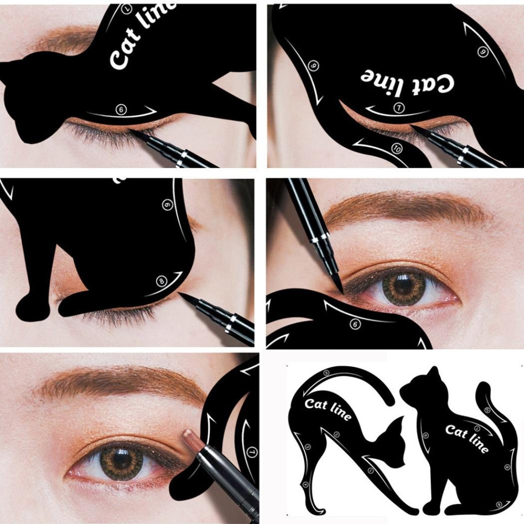 Ecosin 2Pcs Women Cat Line Pro Eye Makeup Tool Eyeliner Stencils Template Shaper Model Cat Eye Card