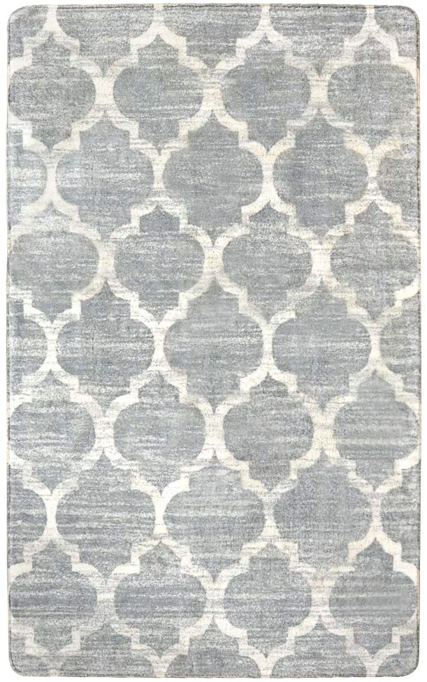 Lahome Moroccan Area Rug - 4' X 6' Faux Wool Non-Slip Area Rug Accent Distressed Throw Rugs Floor Carpet for Living Room Bedrooms Laundry Room Decor (4' X 6', Gray)
