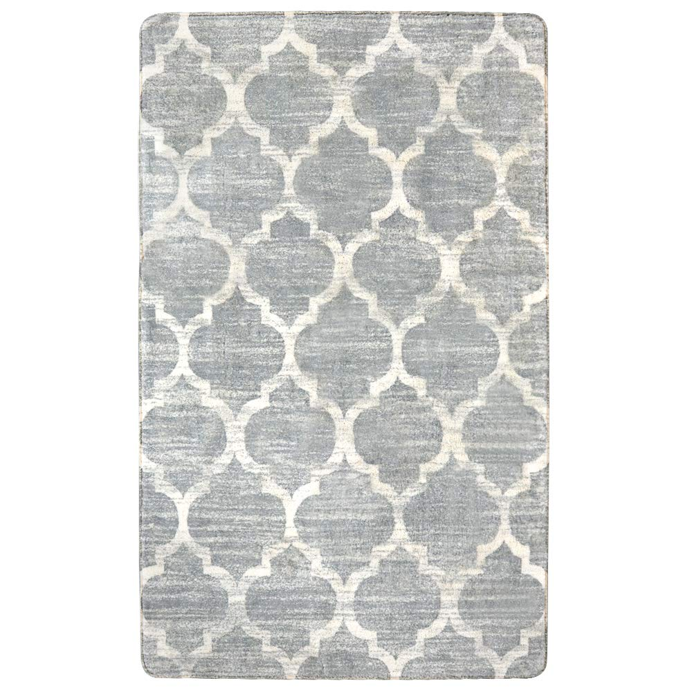 Lahome Moroccan Area Rug -3' X 5' Faux Wool Non-Slip Area Rug Accent Distressed Throw Rugs Floor Carpet for Living Room Bedrooms Laundry Room Decor (3' X 5', Gray)