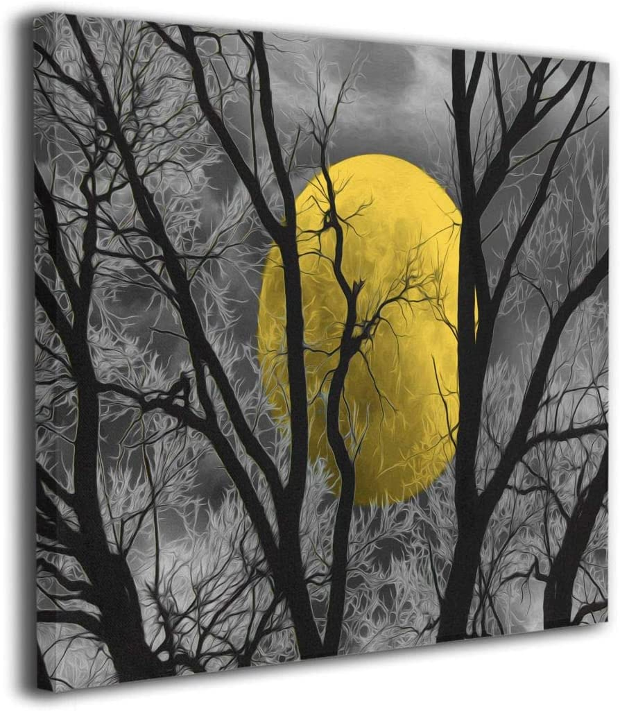 Amazon Com Ale Art Yellow Tree Moon Rustic Forest Canvas Prints Wall Art Modern Wall Decor Gallery Canvas Wrap Giclee Print Stretched And Ready To Hang 20 X20 Posters Prints