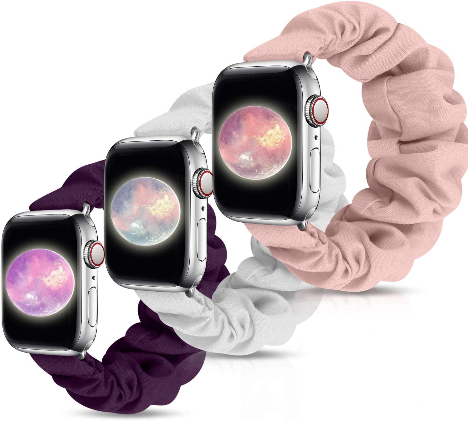 Compatible with Apple Watch Band Scrunchies 38mm 40mm 42mm 44mm, Cute Pattern Printed apple watch bands for women, Soft Elastic Band Replacement Wristbands for iWatch Series SE 6 5 4 3 2 1 (G-Pink Sand+Ivory+Purple, 38mm/40mm S)